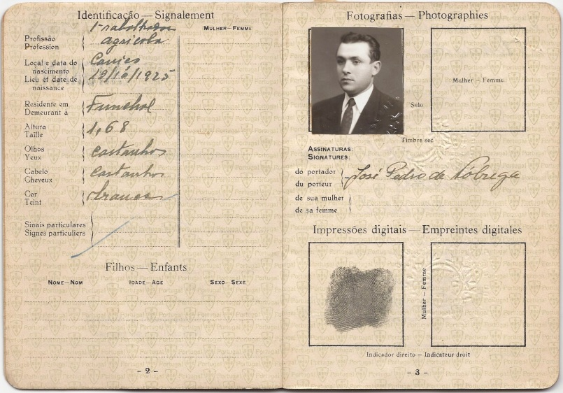 Portuguese passport used by José Nóbrega (Ângelo's father) to enter Canada in 1953. Courtesy of Gallery of the Portuguese Pioneers.